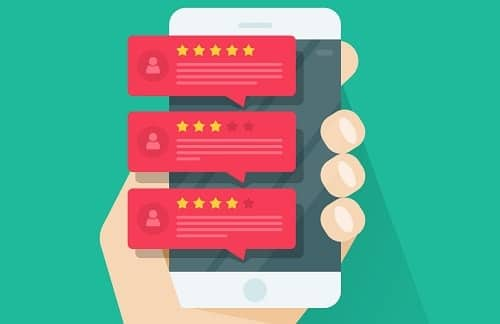 Review rating bubble speeches on mobile phone