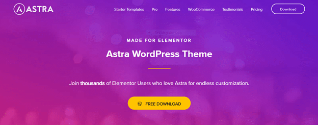 astra is a wordpress theme that is seamless integrated with elementor