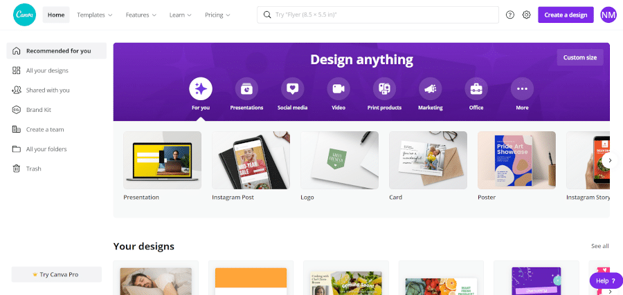 landing page of Canva an easy to use design tool