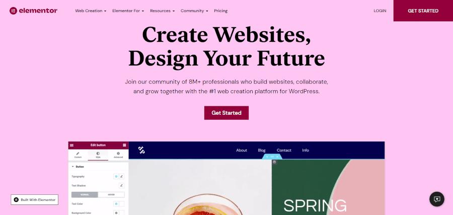 landing page of elementor free wordpress website builder