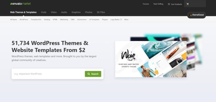 landing page of envato market premium wordpress themes from themeforest