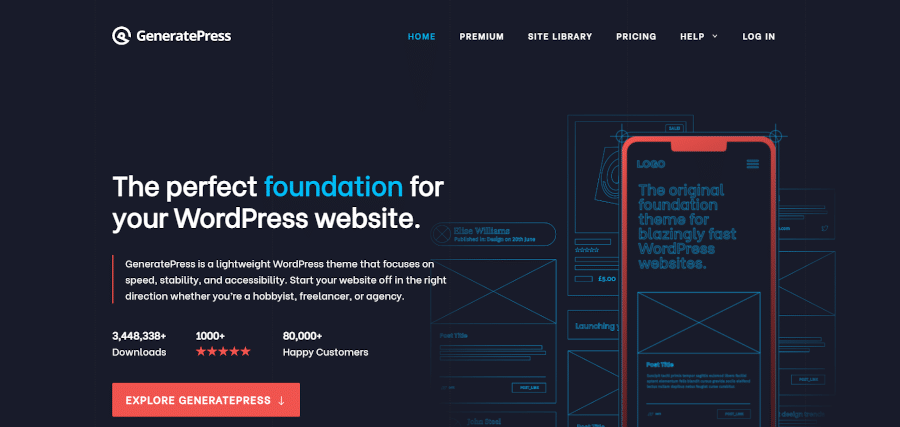 landing page of generatepress the perfect foundation for your wordpress website