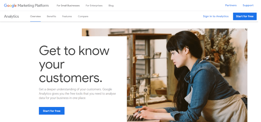Landing page of Google Analytics that helps you get to know your customers better