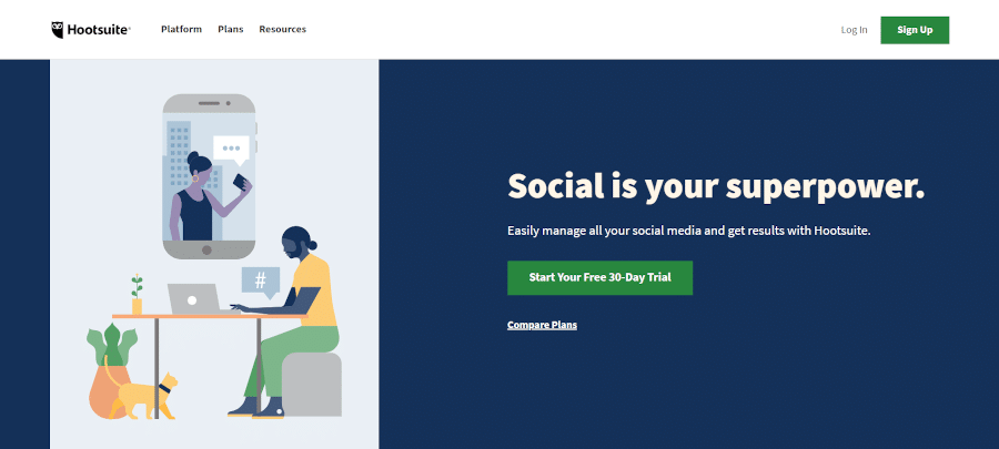 landing page hootsuite a social media marketing platform