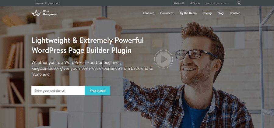 landing page of king composer high performance page builder plugin for wordpress