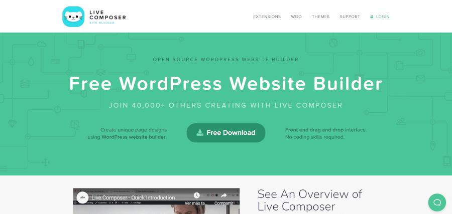 landing page of live composer open source wordpress website builder front end drag and drop