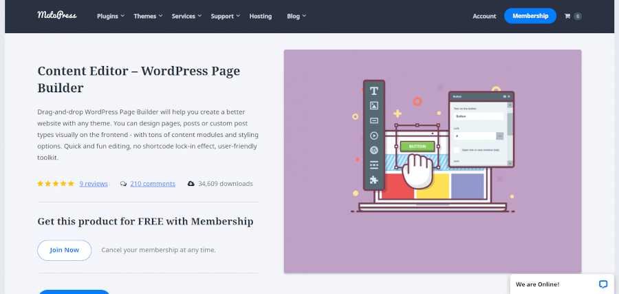 landing page of motopress drag-and-drop wordpress page builder will help you create a better website with any theme