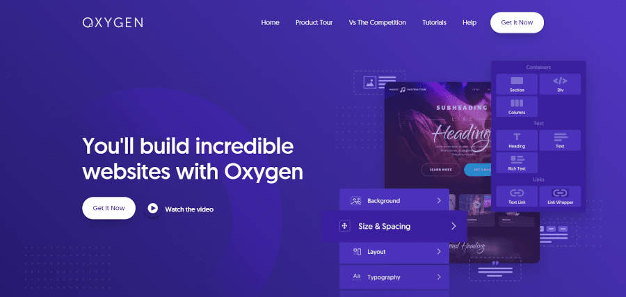 landing page of oxygen the ultimate visual site builder for wordpress and woocommerce