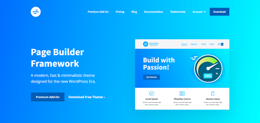 landing page of page builder framework modern fast and minimalistic theme designed for the new wordpress era