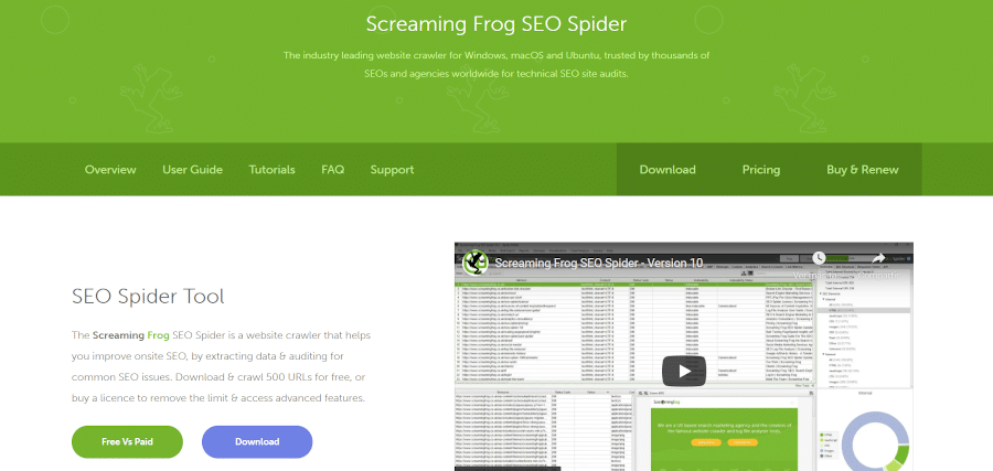 landing page of screaming frog SEO spider SEO website crawler