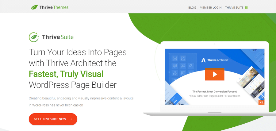 landing page of thrive architect discover the fastest, most conversion focused visual editor for wordpress