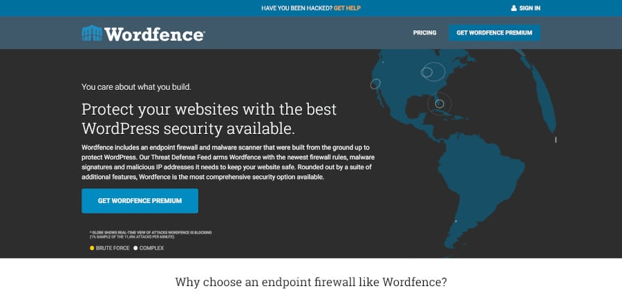 landing page of wordfence security plugin for wordpress that protects more than four million users from online threats